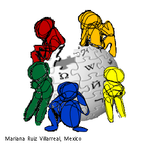 Five cartoon images in various colors sitting or leaning on the Wikipedia puzzle-globe, engaged in deep reflections